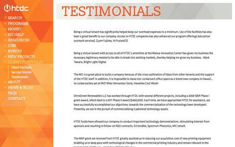 Screenshot of Testimonials Page htdc.org - Testimonials - HTDC - captured July 4, 2018