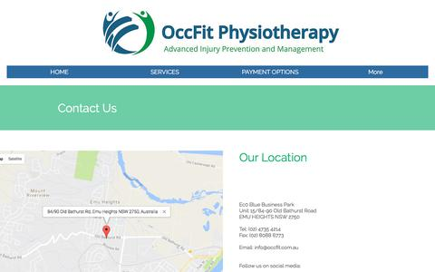 Screenshot of Contact Page occfit.com.au - Contact OccFit Physiotherapy - captured June 11, 2017