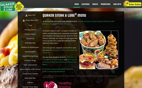 Screenshot of Menu Page thelube.com - Menu | Quaker Steak & Lube® - captured Sept. 19, 2014