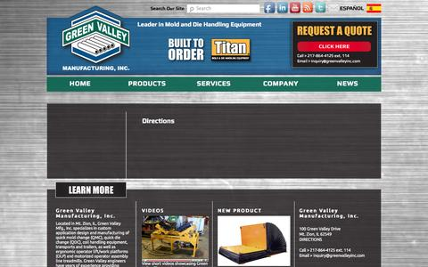 Screenshot of Maps & Directions Page greenvalleyinc.com - Directions | Green Valley Manufacturing - captured Oct. 3, 2014
