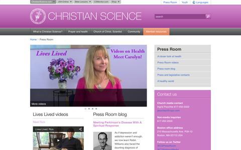 Screenshot of Press Page christianscience.com - Press Room/Christian Science - captured Sept. 24, 2014
