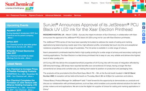 SunJet® Announces Approval of its JetStream® PCU Black UV LED ink for the Xaar Electron Printhead | Sun Chemical