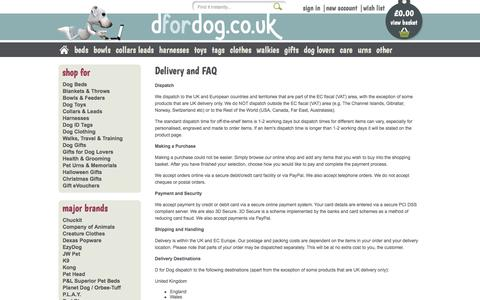 Screenshot of FAQ Page dfordog.co.uk - Delivery And FAQ - captured Oct. 8, 2017