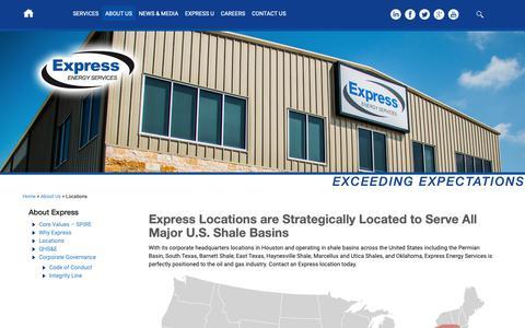 Screenshot of Locations Page eeslp.com - Locations | Express Energy ServicesExpress Energy Services - captured Sept. 30, 2018