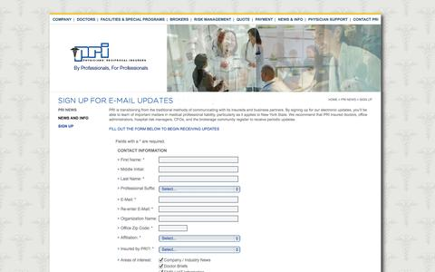 Screenshot of Signup Page pri.com - Sign up for e-mail updates | PRI - captured Oct. 2, 2014