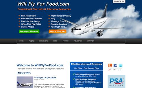 Screenshot of Home Page willflyforfood.com - Free Pilot Jobs and Employment Resources - Pilot Jobs Board, Interview Gouge, Recruiting, Pay Rates, Forums - captured Sept. 19, 2014