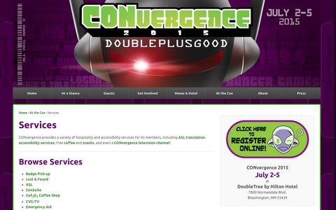 Screenshot of Services Page convergence-con.org - Services | CONvergence Convention - captured Sept. 19, 2014