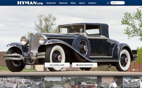 Screenshot of Home Page hymanltd.com - Home | Hyman Ltd. Classic Cars - captured Sept. 24, 2014