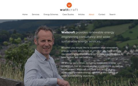 Screenshot of About Page wattcraft.com - About — Wattcraft: Renewable & Sustainable Energy Consultants - captured Oct. 18, 2018