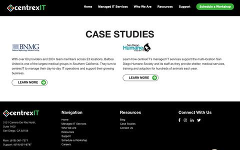 Screenshot of Case Studies Page centrexit.com - Case Studies - captured Oct. 11, 2018