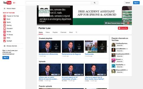 Screenshot of YouTube Page youtube.com - Panter Law  - YouTube - captured Oct. 22, 2014