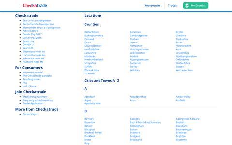 Screenshot of Site Map Page checkatrade.com - Checkatrade: Site map - captured Dec. 8, 2019