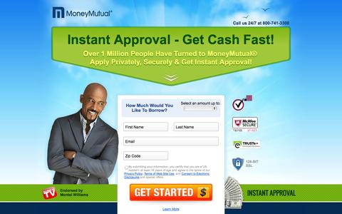 Screenshot of Landing Page moneymutual.com - Instant Approval - Get Cash Fast! - captured Oct. 27, 2014