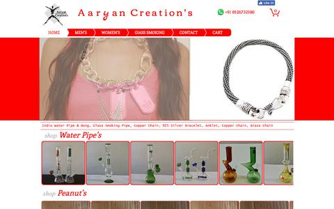 Screenshot of Home Page aaryancreation.com - Jewelry, Glass Water Pipe & Glass Bong, Glass Smoking Pipe - captured Oct. 7, 2017