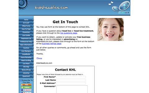 Screenshot of FAQ Page kidsheadlice.com - Contact KidsHeadLice.com - captured March 7, 2016