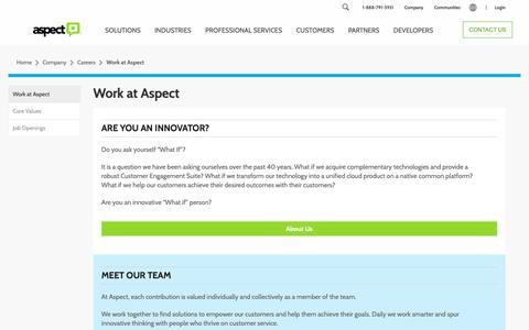 Screenshot of Jobs Page aspect.com - Work at Aspect   Aspect - captured Nov. 27, 2018