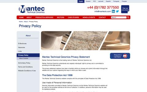 Screenshot of Privacy Page mantectechnicalceramics.com - Privacy Policy | Mantec Technical Ceramics - captured Nov. 17, 2016