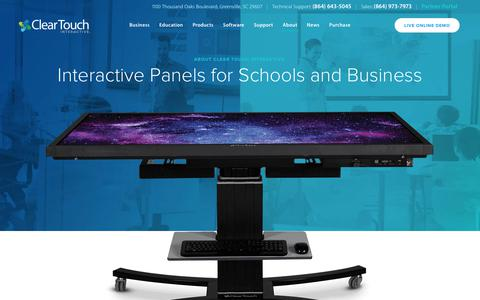 Screenshot of About Page getcleartouch.com - Interactive Panels for Schools and Business | Clear Touch Interactive - captured Sept. 28, 2018