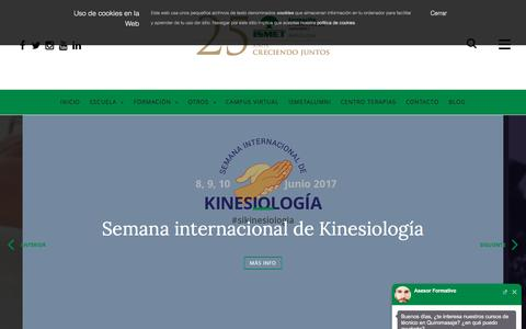 Screenshot of Home Page ismet.es - Inicio - ISMET | Formación en salud y terapias naturales - captured May 10, 2017
