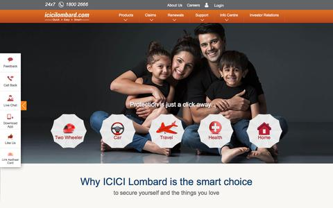 Screenshot of Home Page icicilombard.com - ICICI Lombard: Online General Insurance Company in India | Buy Motor, Health, Travel & Home Insurance - captured July 25, 2018