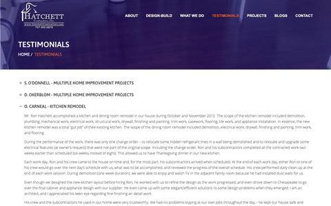 Screenshot of Testimonials Page hatchettcontractors.com - Newport News Home Improvement Testimonials | Hatchett Contractors - captured Sept. 27, 2018