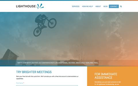 Screenshot of Trial Page lighthouseconferencing.com - Webinar Free Trial - Lighthouse Conferencing - captured July 19, 2018
