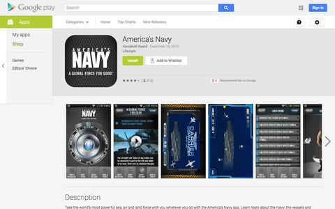Screenshot of Android App Page google.com - America's Navy - Android Apps on Google Play - captured Oct. 30, 2014