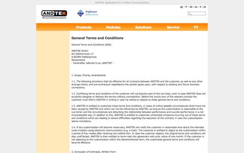 Screenshot of Terms Page andtek.com - ANDTEK Applications for Unified Communications - captured Oct. 4, 2014