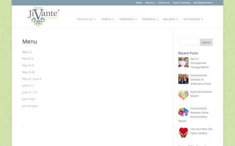 Screenshot of Menu Page grandjivante.com - Menu | Grand JiVanté - captured June 23, 2016