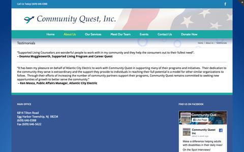 Screenshot of Testimonials Page cqinc.org - cqinc.org   –  Testimonials - captured Sept. 29, 2018