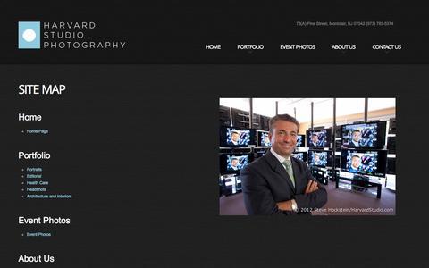 Screenshot of Site Map Page harvardstudio.com - NJ Photographer Steve Hockstein: Harvard Studio Photography, Montclair, NJ, Site Map - captured Oct. 2, 2014
