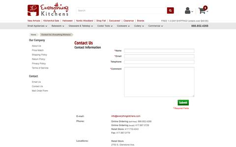 Screenshot of Contact Page everythingkitchens.com - Contact Us | Everything Kitchens - captured Oct. 9, 2019