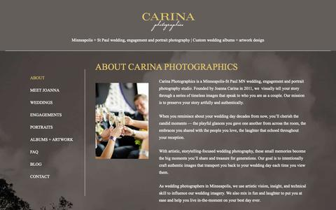 Screenshot of About Page carinaphotographics.com - About Minneapolis Photographer Carina Photographics - captured Nov. 4, 2018