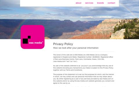 Screenshot of Privacy Page ess-media.com - Our Privacy Policy - captured Jan. 24, 2016