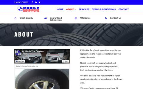 Screenshot of About Page kkmobile.co.uk - About - KK Mobile - Affordable & Reliable Tyre Service in Essex - captured Oct. 14, 2018