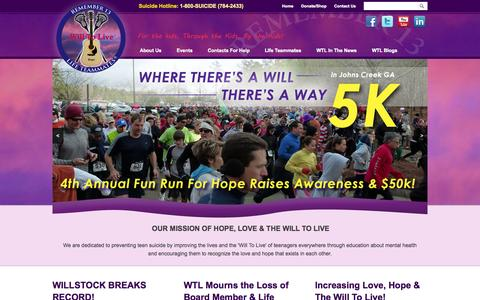 Screenshot of Home Page will-to-live.org - Will To Live Foundation | Suicide Prevention - captured Oct. 7, 2014