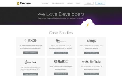 Screenshot of Case Studies Page firebase.com - We Love Developers - Firebase - captured Oct. 28, 2014