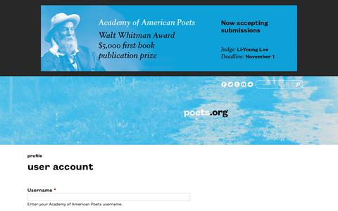 Screenshot of Login Page poets.org - User account | Academy of American Poets - captured Oct. 2, 2018
