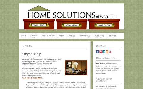 Screenshot of Home Page homesolutionswny.com - Home Solutions of WNY, Inc. | Residential & Office organizing, Downsizing, Senior Move Management, & Home Staging - captured Oct. 3, 2014