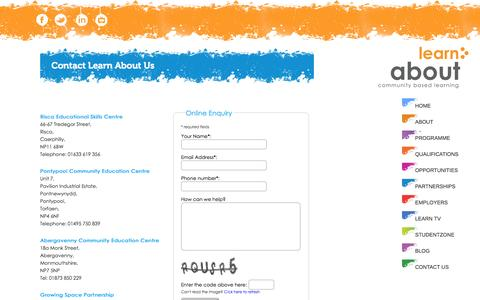 Screenshot of Contact Page learnaboutus.org - Contact Us - Learn About Us Community Based Learning - captured Oct. 2, 2014