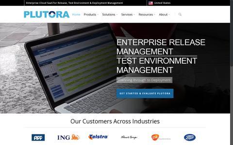 Screenshot of Home Page plutora.com - Release Management & Test Environment Management - Plutora - captured July 17, 2014