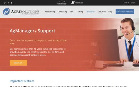Screenshot of Support Page agrisolutions.com - AgManager Software Support | AgriSolutions - captured Oct. 7, 2017