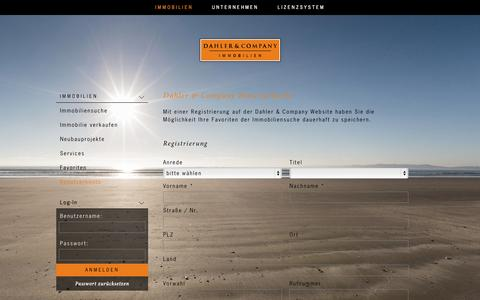 Screenshot of Login Page dahlercompany.com - Benutzerkonto - Dahler & Company Immobilien - captured Sept. 23, 2014
