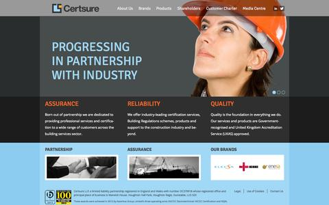 Screenshot of Home Page certsure.com - Certsure - Professional services and certification for the building sector - captured Oct. 2, 2014