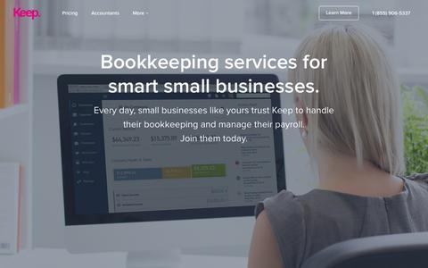 Screenshot of Home Page thisiskeep.com - Bookkeeping Services for Small Businesses — Keep. - captured Jan. 25, 2015