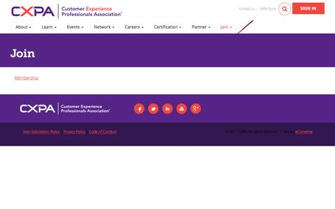 Screenshot of Signup Page cxpa.org - Join - CXPA - captured Sept. 18, 2017