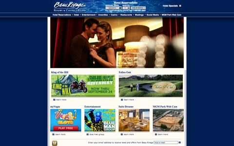 Screenshot of Home Page beaurivage.com - Mississippi Hotel - Beau Rivage Resort and Casino - Biloxi, Mississippi - captured Sept. 22, 2014