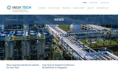 Screenshot of Press Page inoxtech.com - News - Inox Tech S.p.A. - captured Feb. 11, 2016