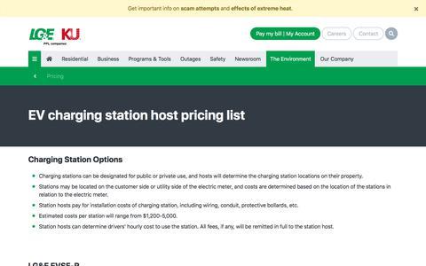 Screenshot of Pricing Page lge-ku.com - EV charging station host pricing list   LG&E and KU - captured Sept. 17, 2019