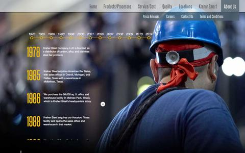 Screenshot of About Page kreher.com - Kreher Steel Company - captured Oct. 6, 2014